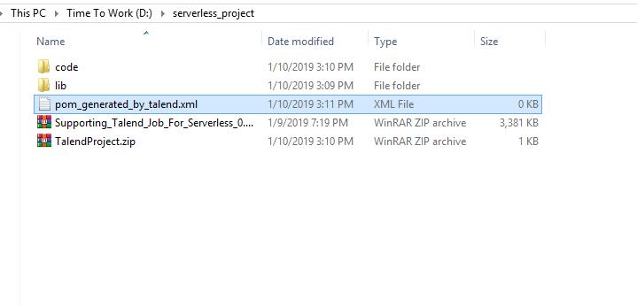 Serverless Lambda function with Talend Jobs